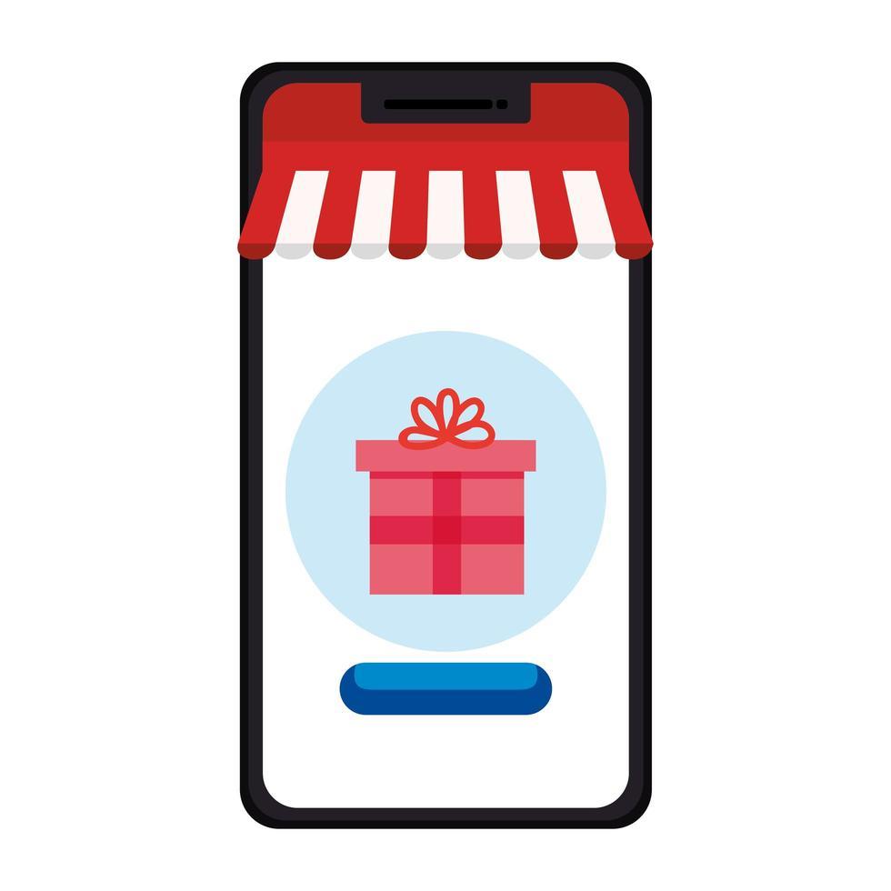 smartphone met tent en cadeau vector ontwerp