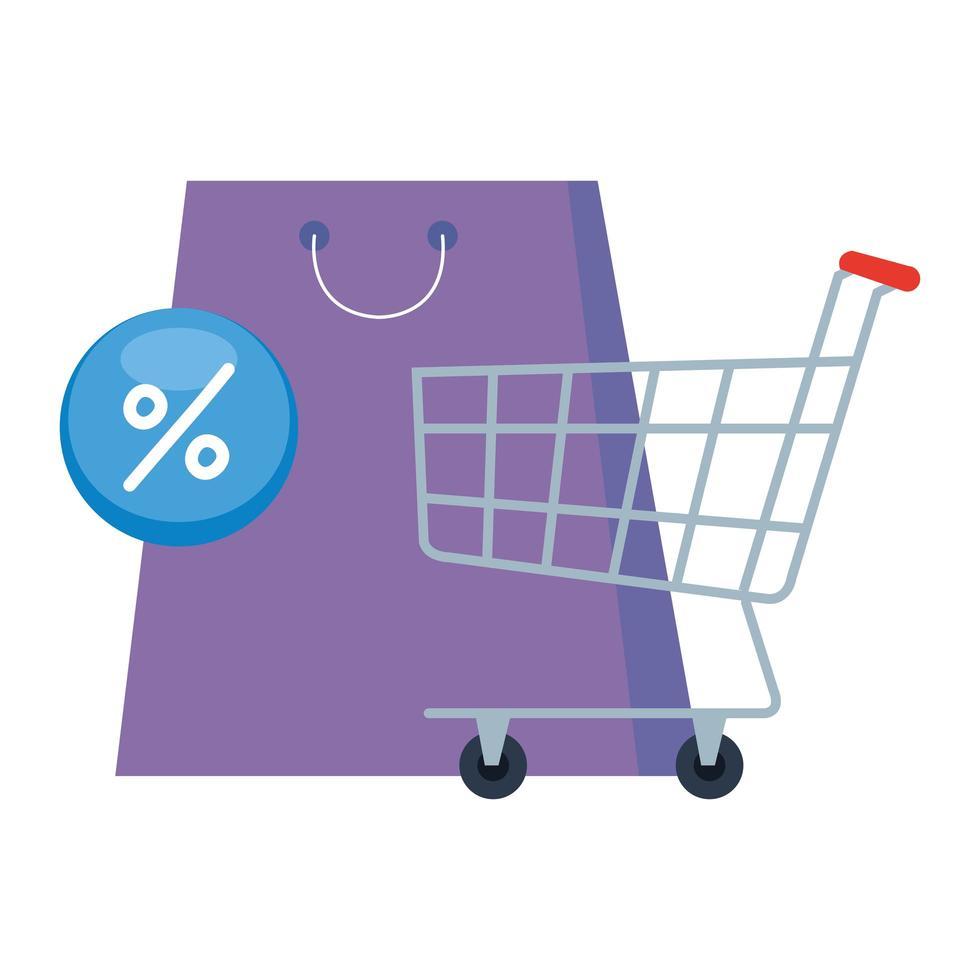 boodschappentas kar en verkoop pictogram vector ontwerp