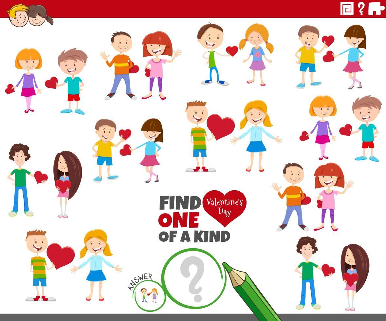 uniek spel met cartoon kinderparen op valentijnsdag vector