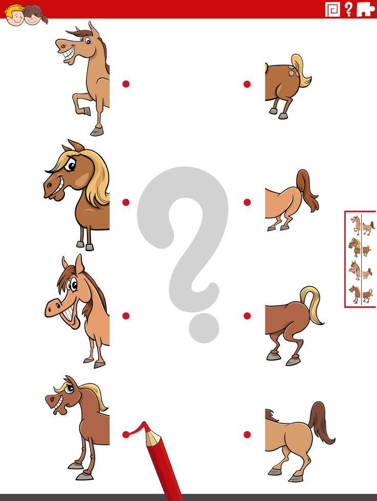 match helften van afbeeldingen met educatief spel van paarden vector