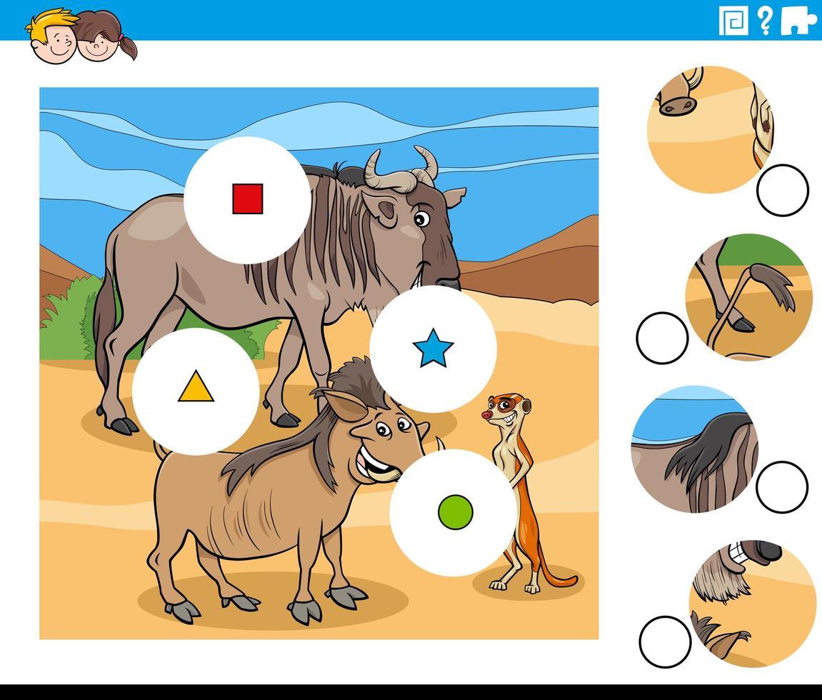 match stukjes taak met wilde dieren karakters vector