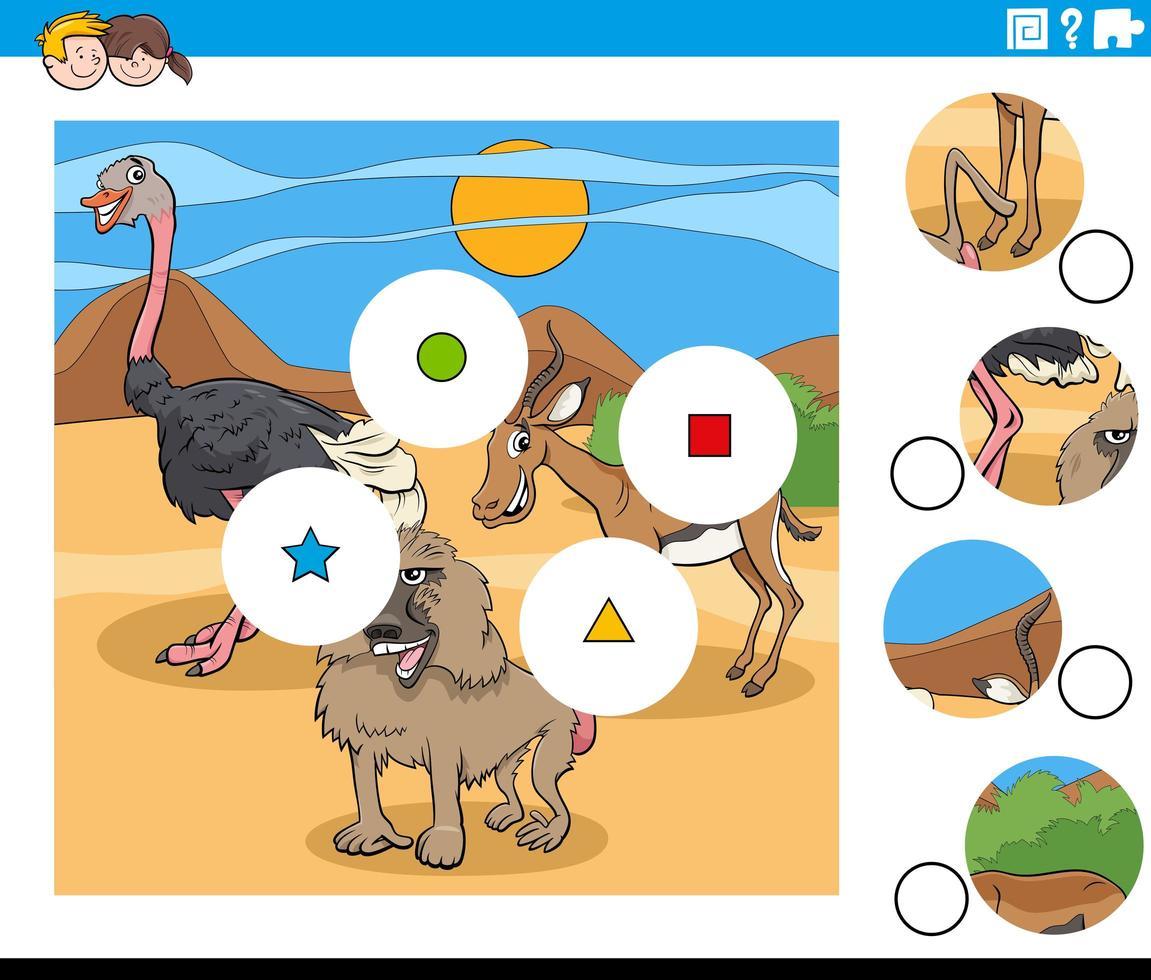 match stukken taak met dierlijke stripfiguren vector