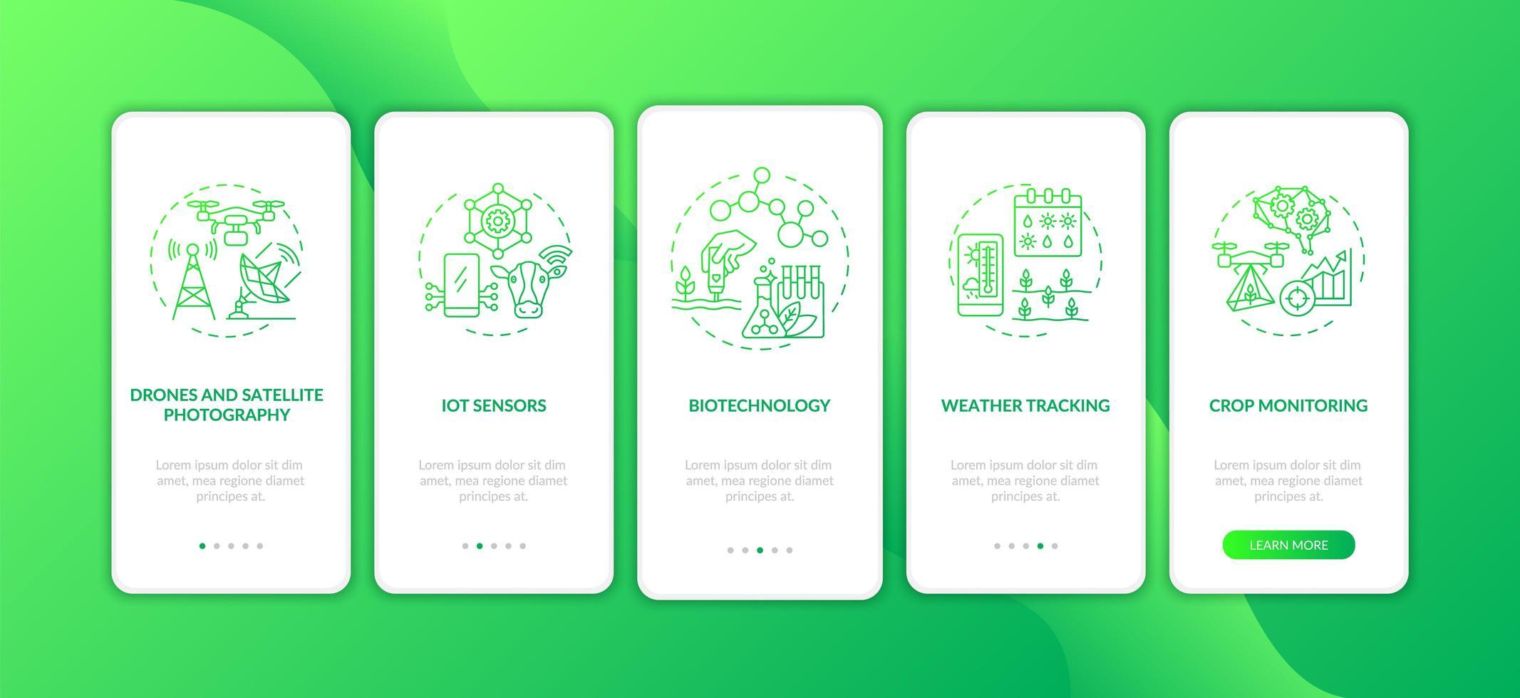 innovatieve landbouwtechnologie onboarding mobiele app-paginascherm met concepten vector