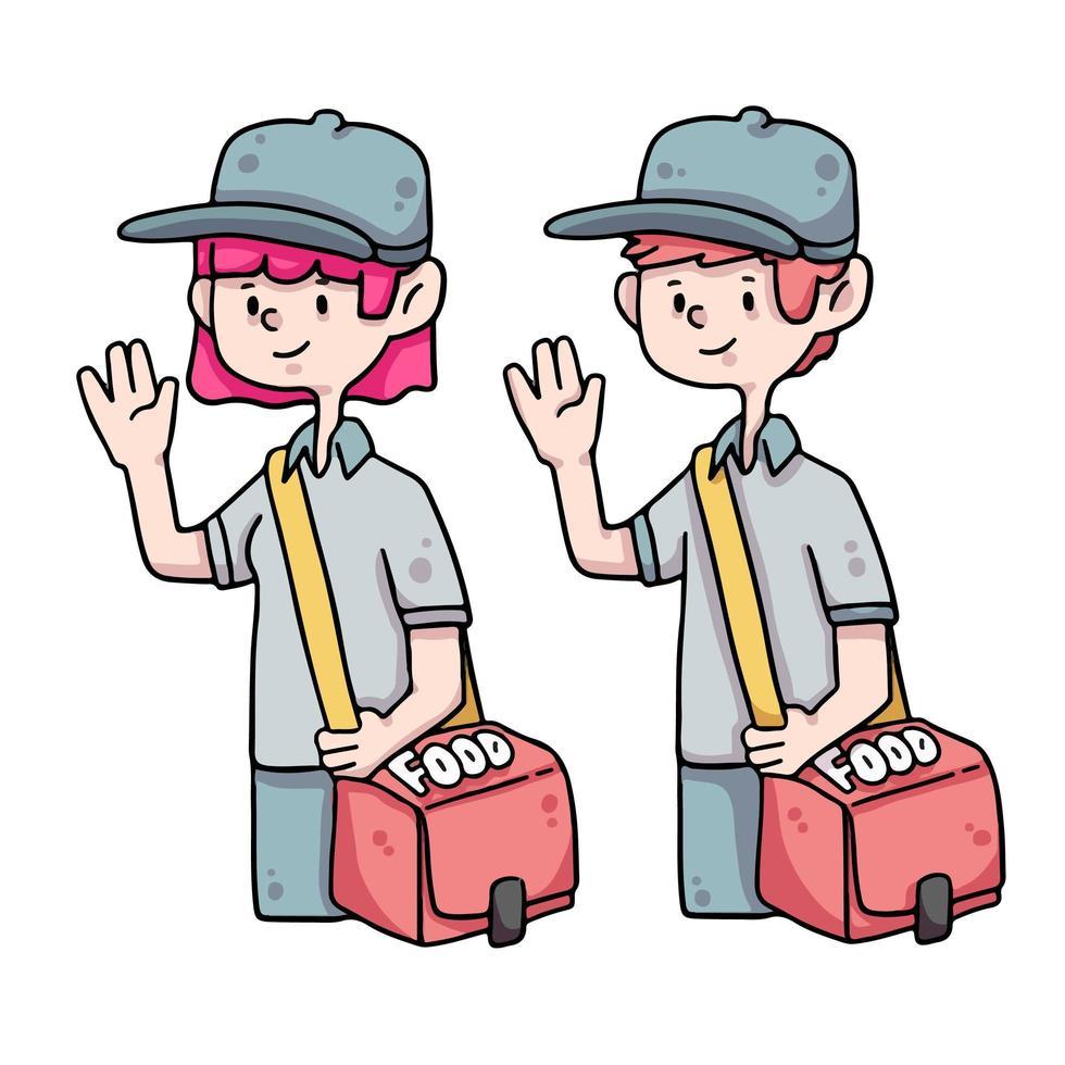 voedsellevering man cute cartoon afbeelding vector