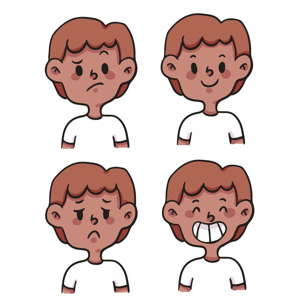 cartoon verschillende soort emotie instellen schattige cartoon afbeelding vector