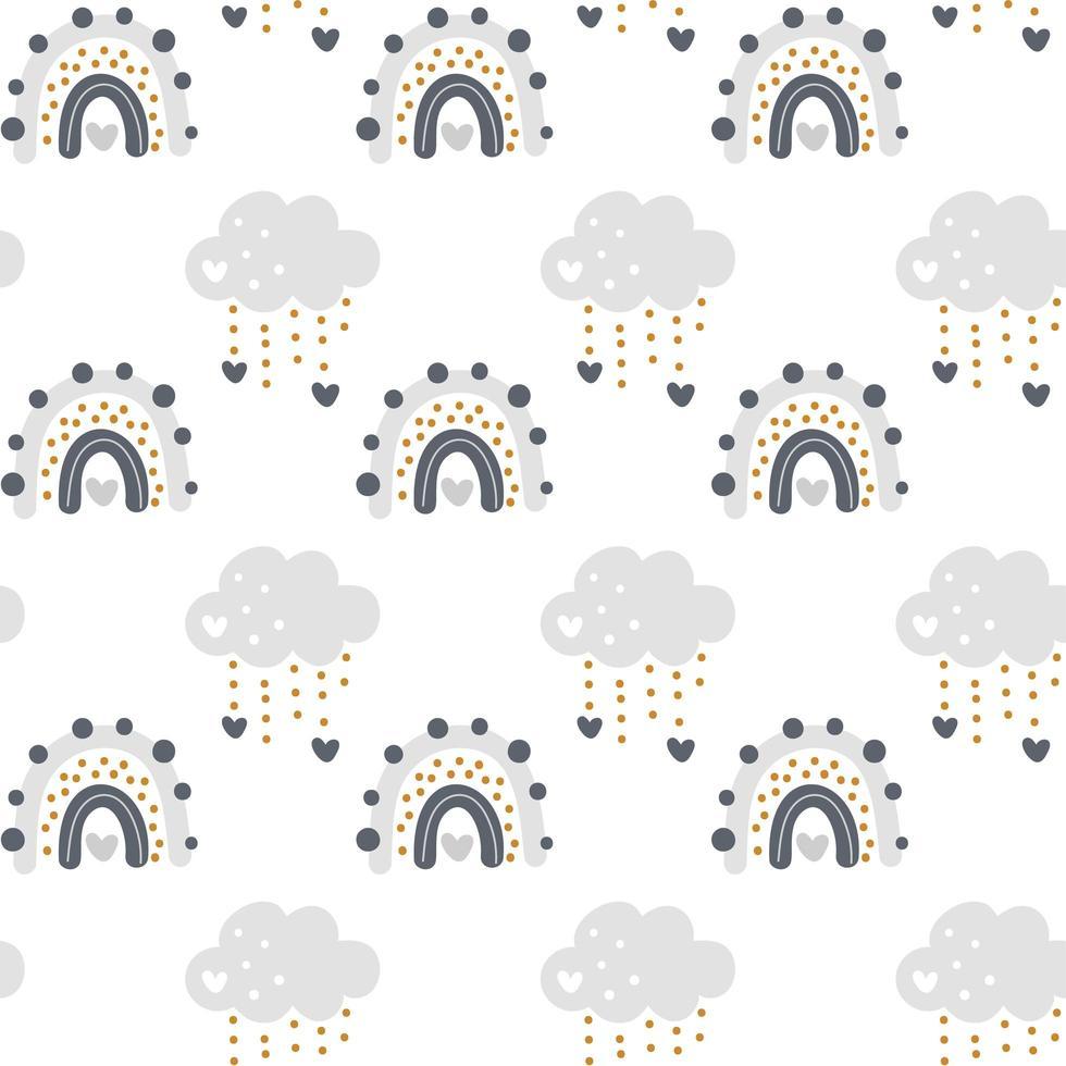 schattige vector regenboog met wolken naadloze patroon in Scandinavische stijl geïsoleerd op een witte achtergrond voor kinderen. hand getekend cartoon illustratie voor posters, prenten, kaarten, stof, kinderboeken