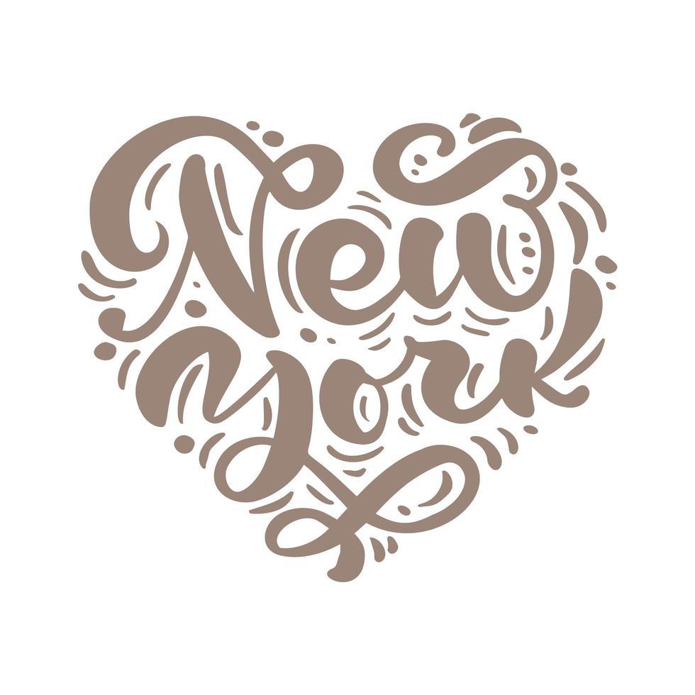 New York City kalligrafietekst in vorm van hart. ny logo geïsoleerd. nyc label of logo. vintage badge in Scandinavische stijl. geweldig voor t-shirts of poster vector