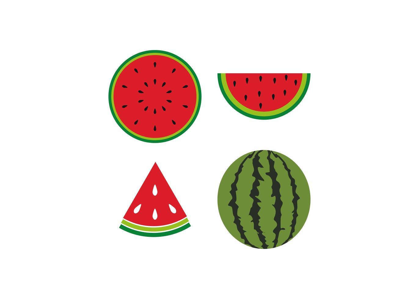 watermeloen pictogram ontwerpset vector