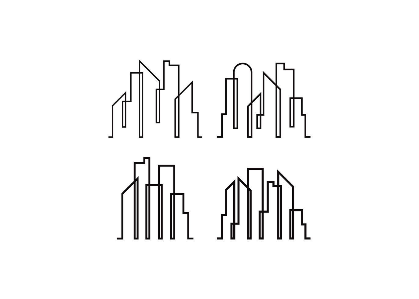 wolkenkrabber lijn pictogram ontwerpsjabloon vector geïsoleerde illustratie