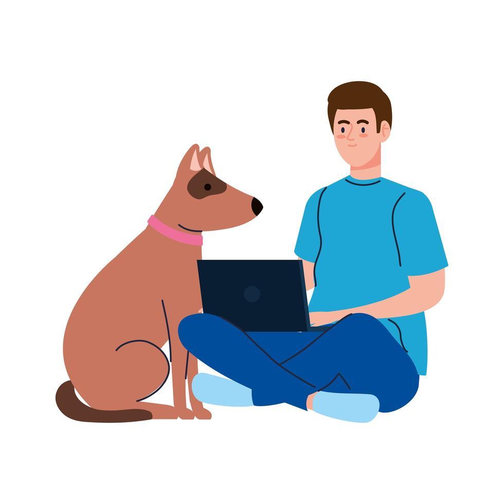 jonge man met laptopcomputer met hond huisdier op witte achtergrond vector
