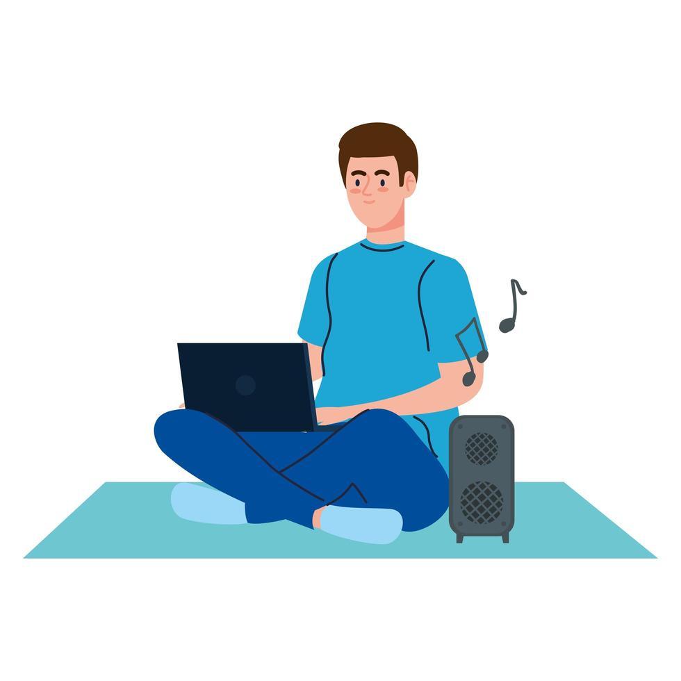 jonge man met laptopcomputer op witte achtergrond vector