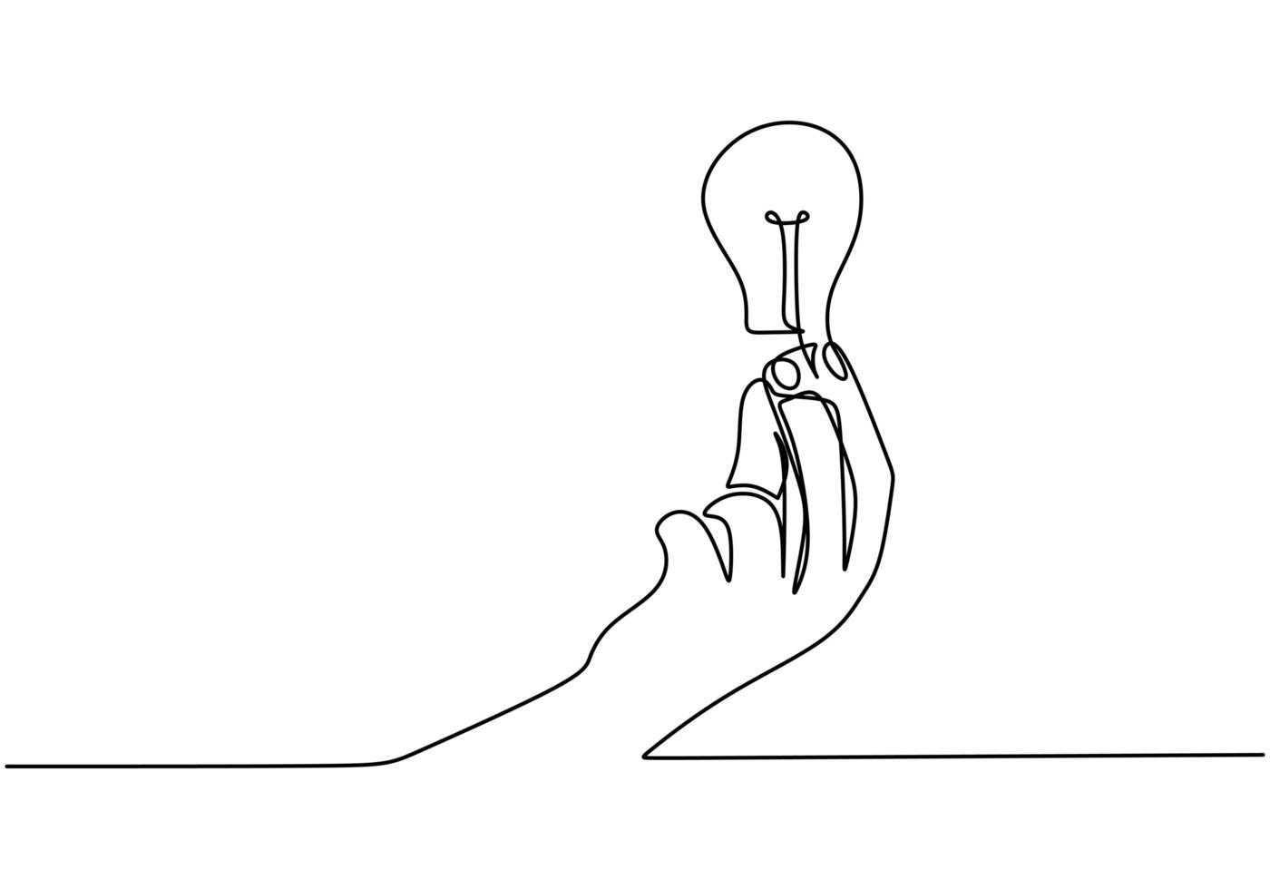 een lijn continu tekenen, menselijke hand met een gloeilamp. hand houdt de identiteit van het gloeilamplogo vast. vector
