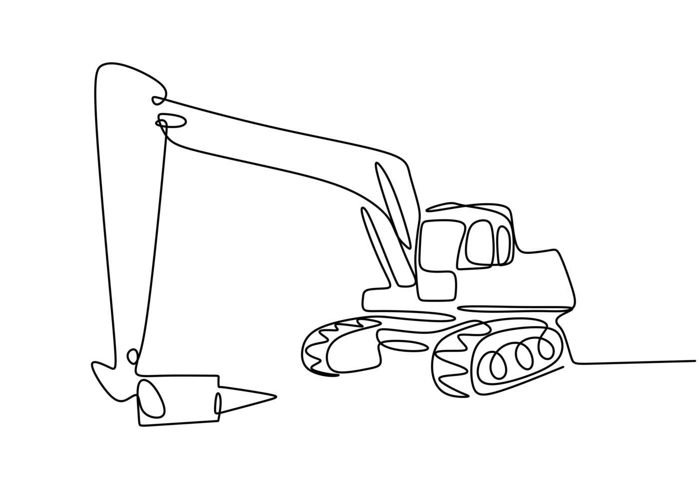 doorlopende lijntekeningen of een lijntekening van een graaflaadvoertuig voor de bouw. vector