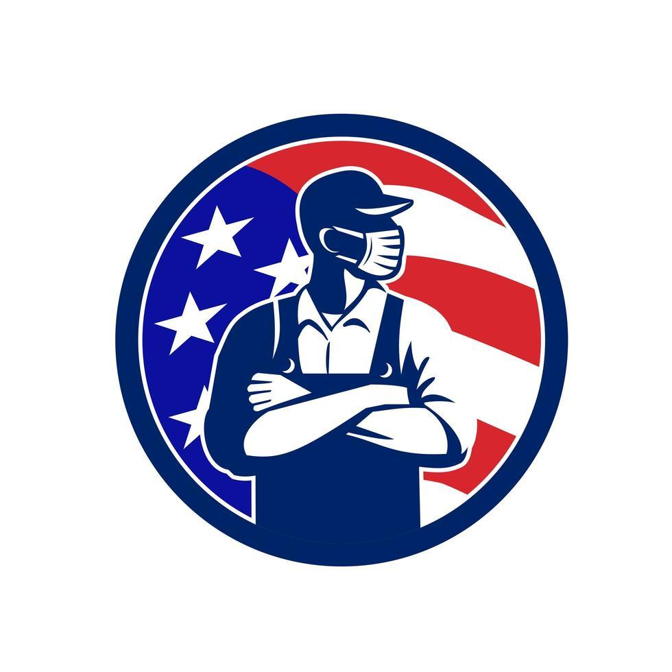 Amerikaanse supermarkt werknemer dragen masker usa vlag cirkel retro embleem vector