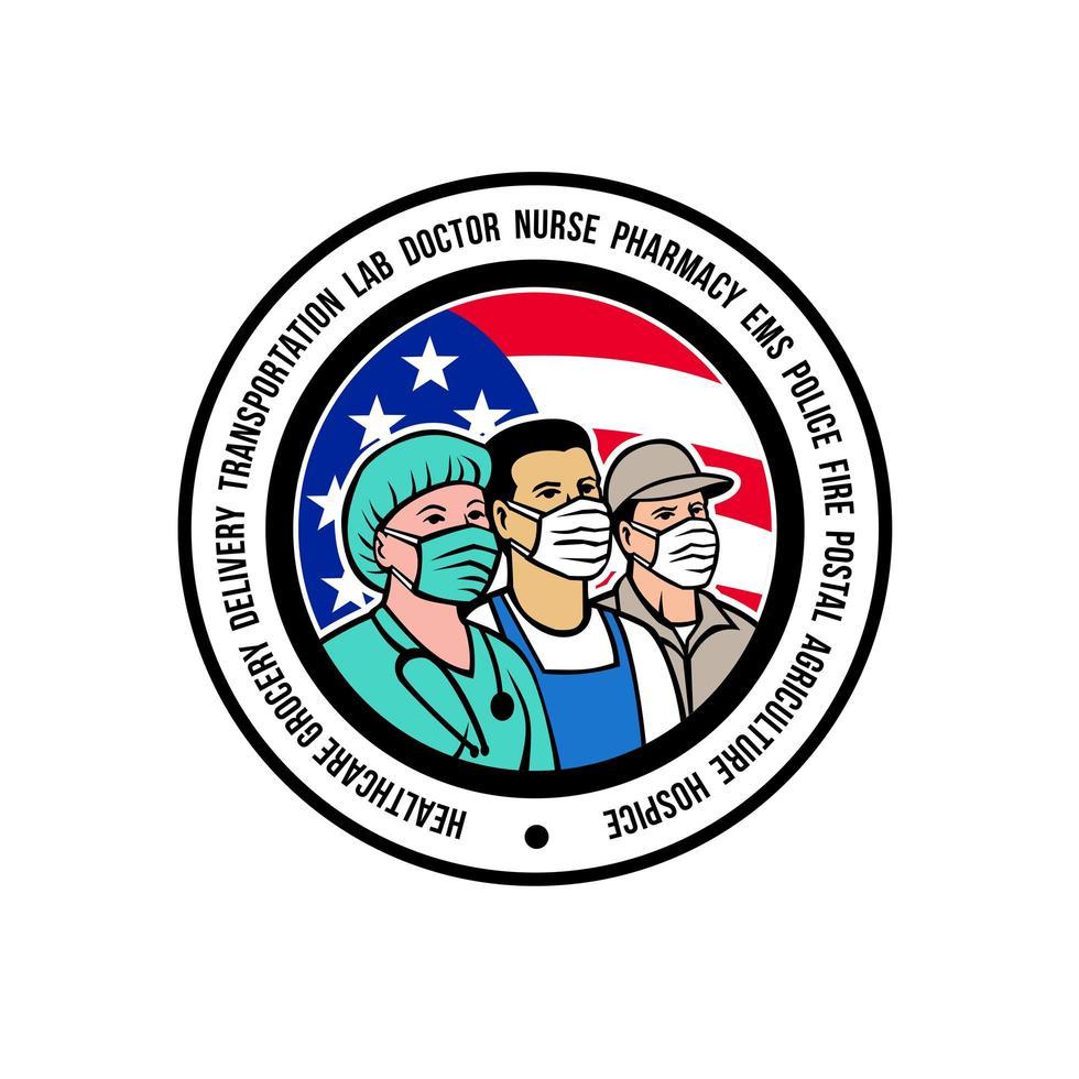 Amerikaanse frontlinie arbeiders usa vlag embleem vector
