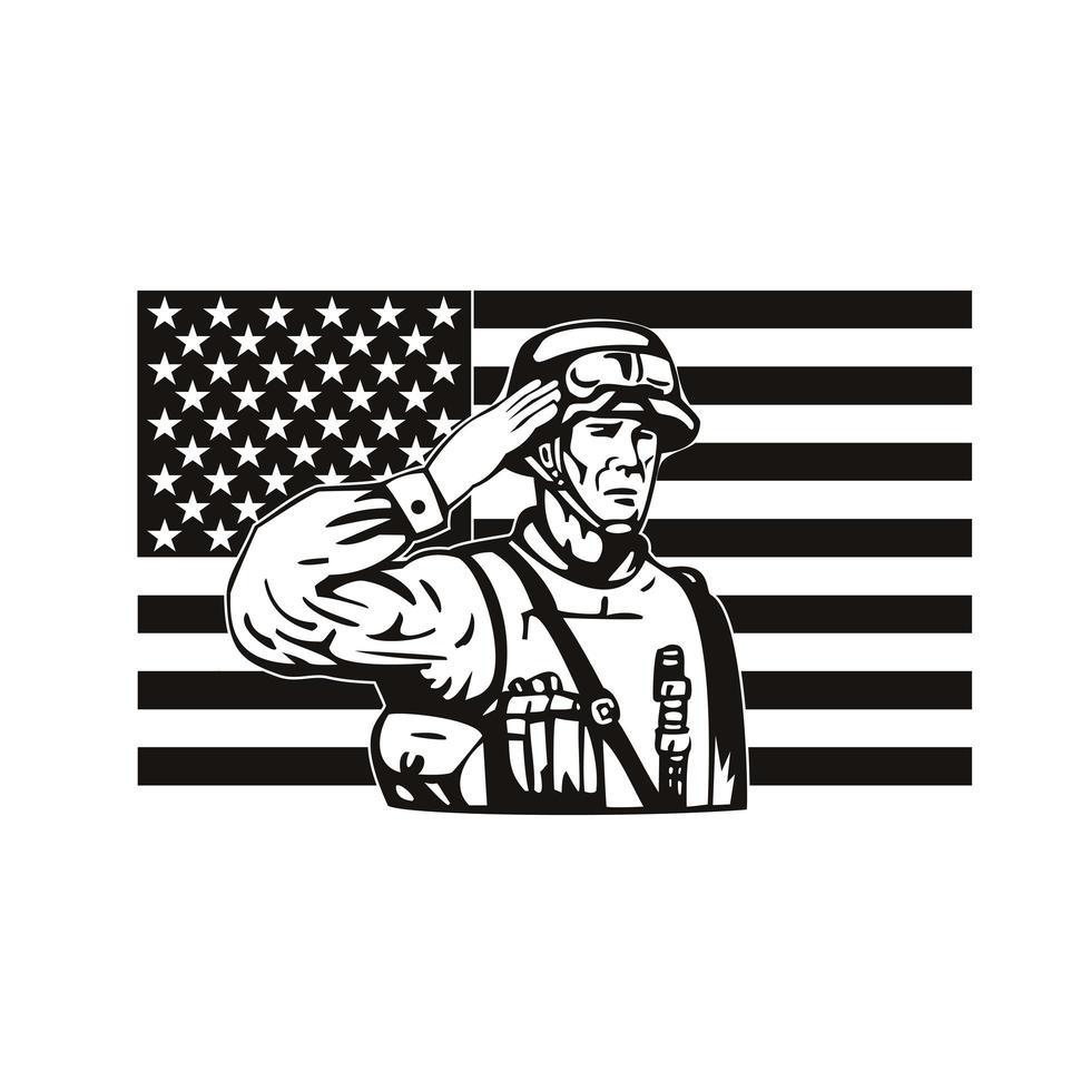 Amerikaanse soldaat groetende ster met spangled banner usa vlag vector