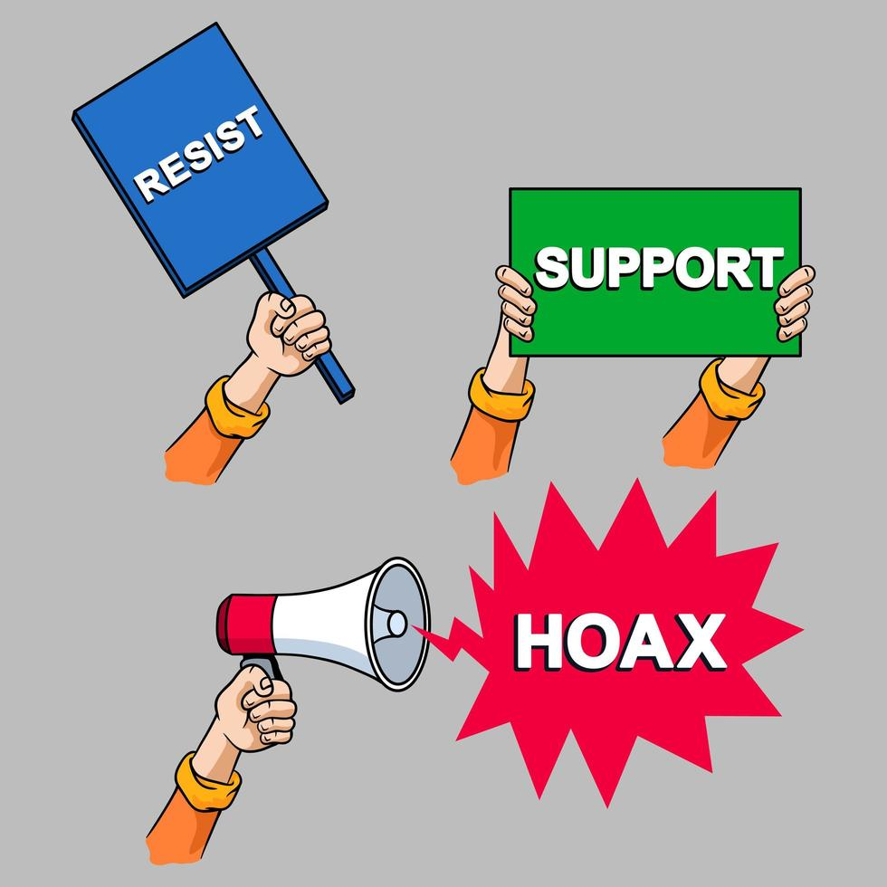 protest cartoon hand collectie set vector