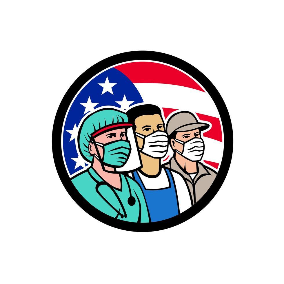 Amerikaanse frontlijnarbeiders als embleem van de heldencirkel vector