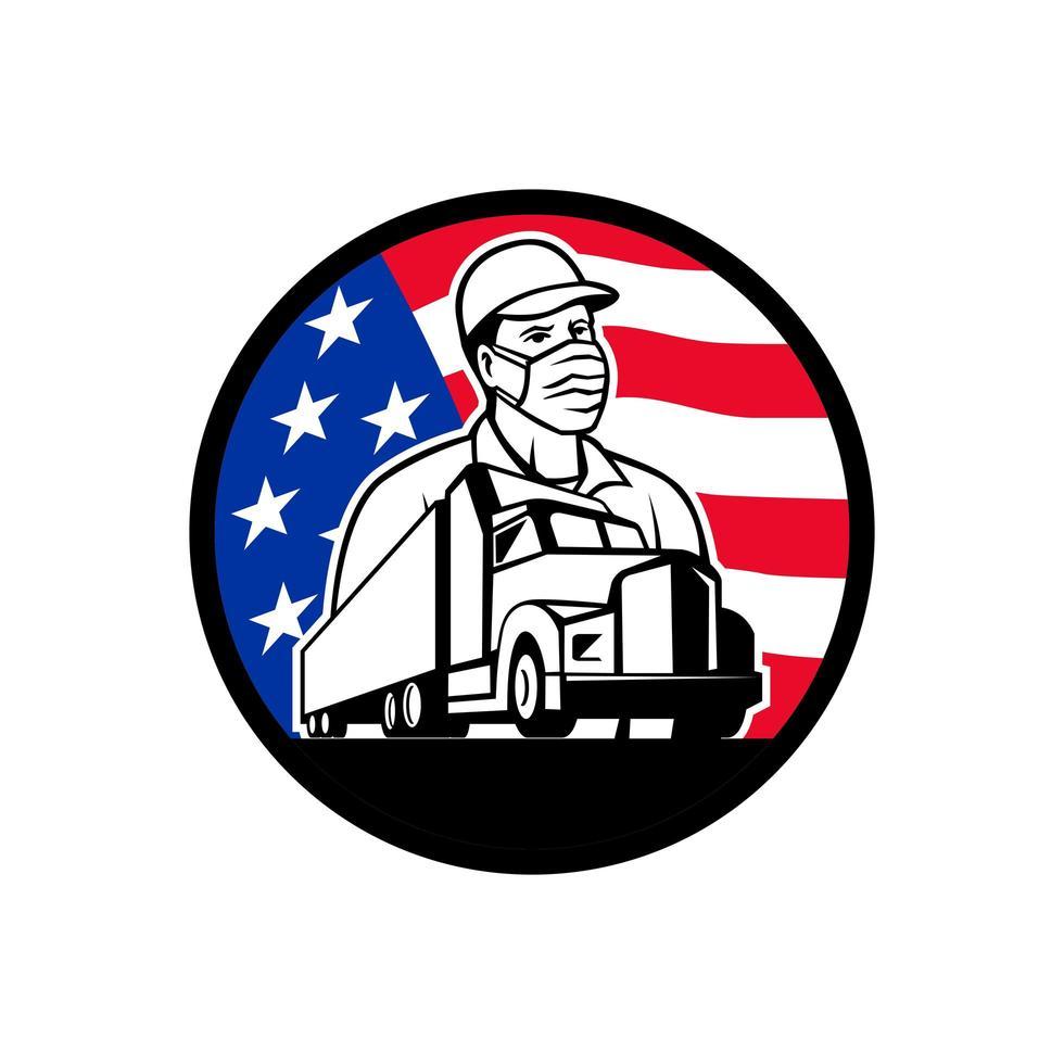 Amerikaanse vrachtwagenchauffeur draagt masker usa vlag cirkel mascotte embleem vector
