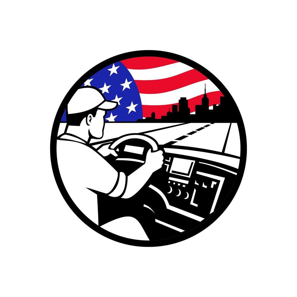 Amerikaanse vrachtwagenchauffeur rijden snelweg usa vlag cirkel mascotte embleem vector