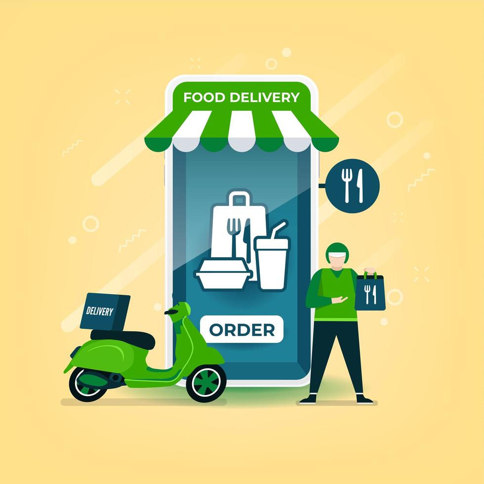 bezorger houdt een voedselzak vast met een motorfiets. voedselbezorging online op mobiele applicatie. vector
