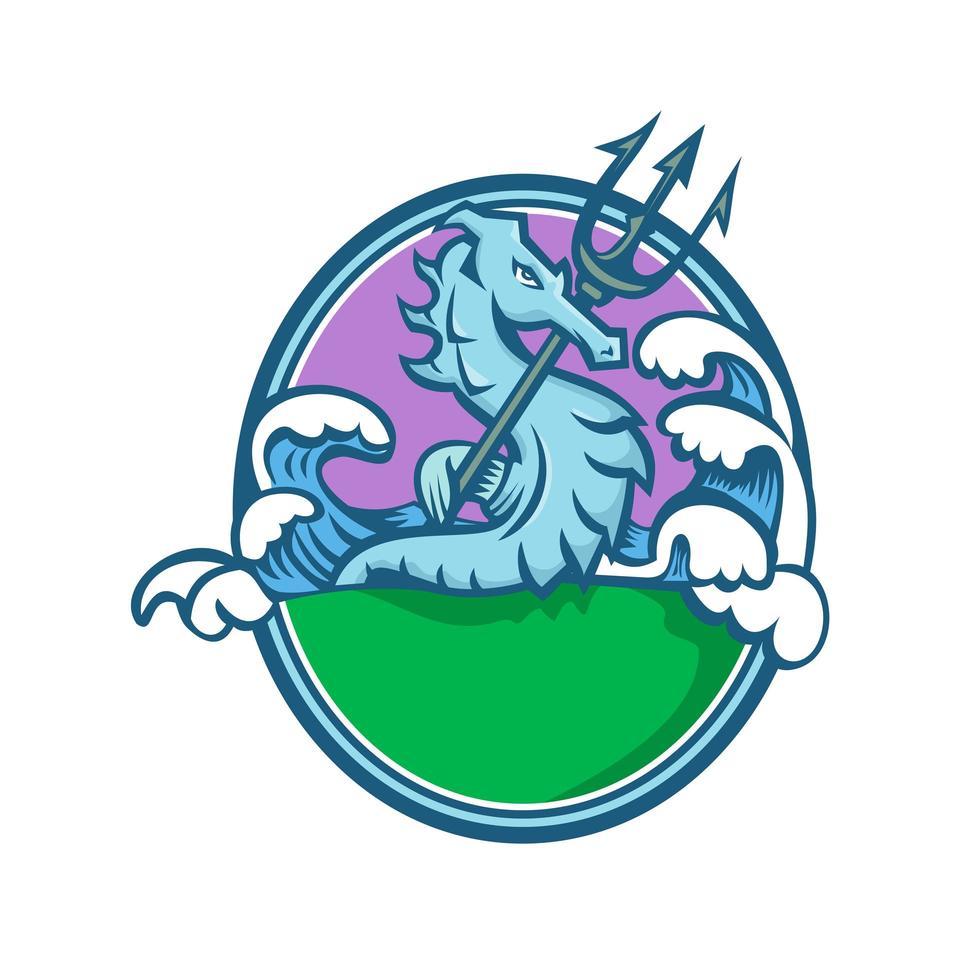 zeepaardje met drietand mascotte ovaal embleem vector