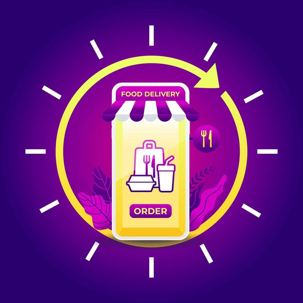 nachtelijke bezorgservice voor fastfood op mobiel. 24-uurs bezorgservice-app op mobiele telefoon. vector