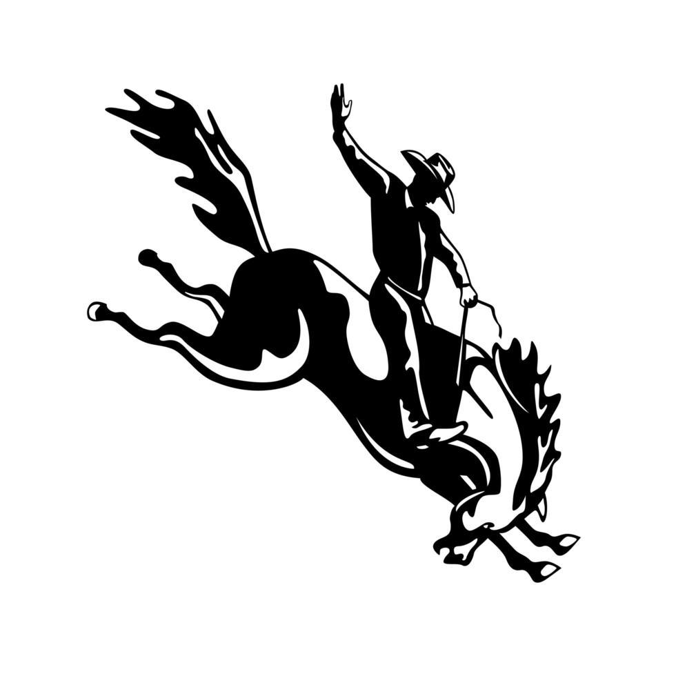 rodeo cowboy ruiter rijden een bucking bronco retro houtsnede in zwart-wit vector