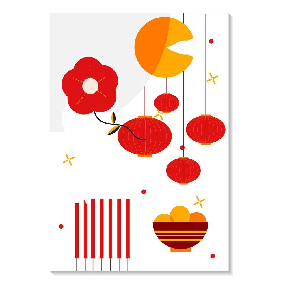 rood en gouden maannieuwjaar 2021 vector