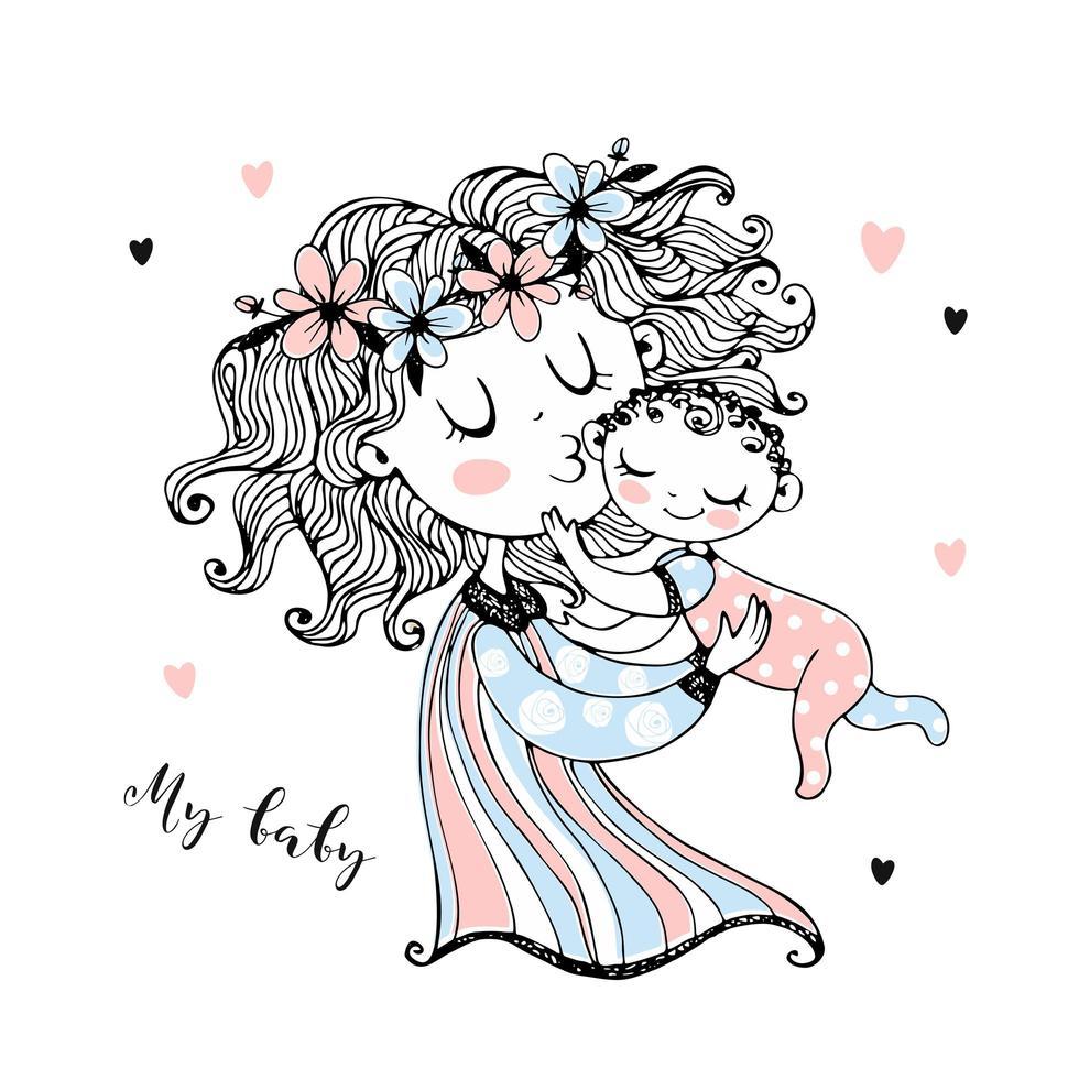 moeder houdt haar baby in haar armen. Moederdag. vector. vector