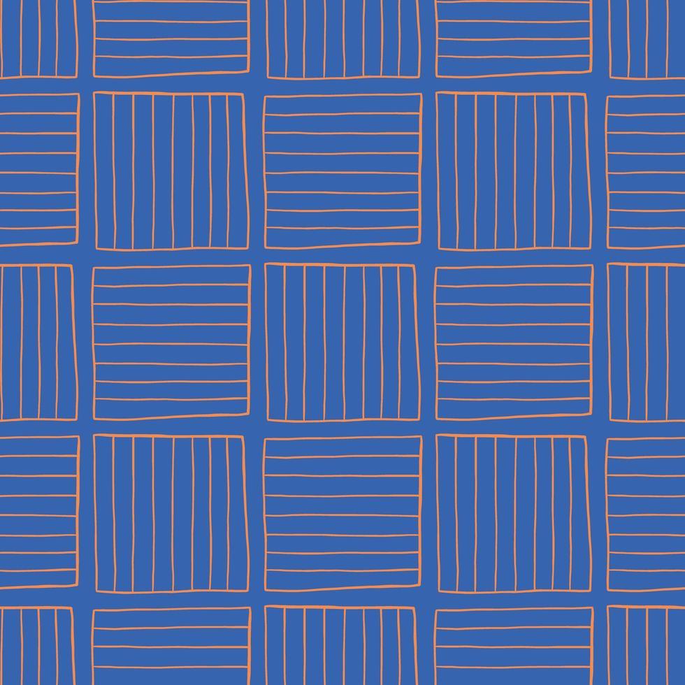 vector naadloze structuurpatroon als achtergrond. hand getrokken, blauwe, oranje kleuren.