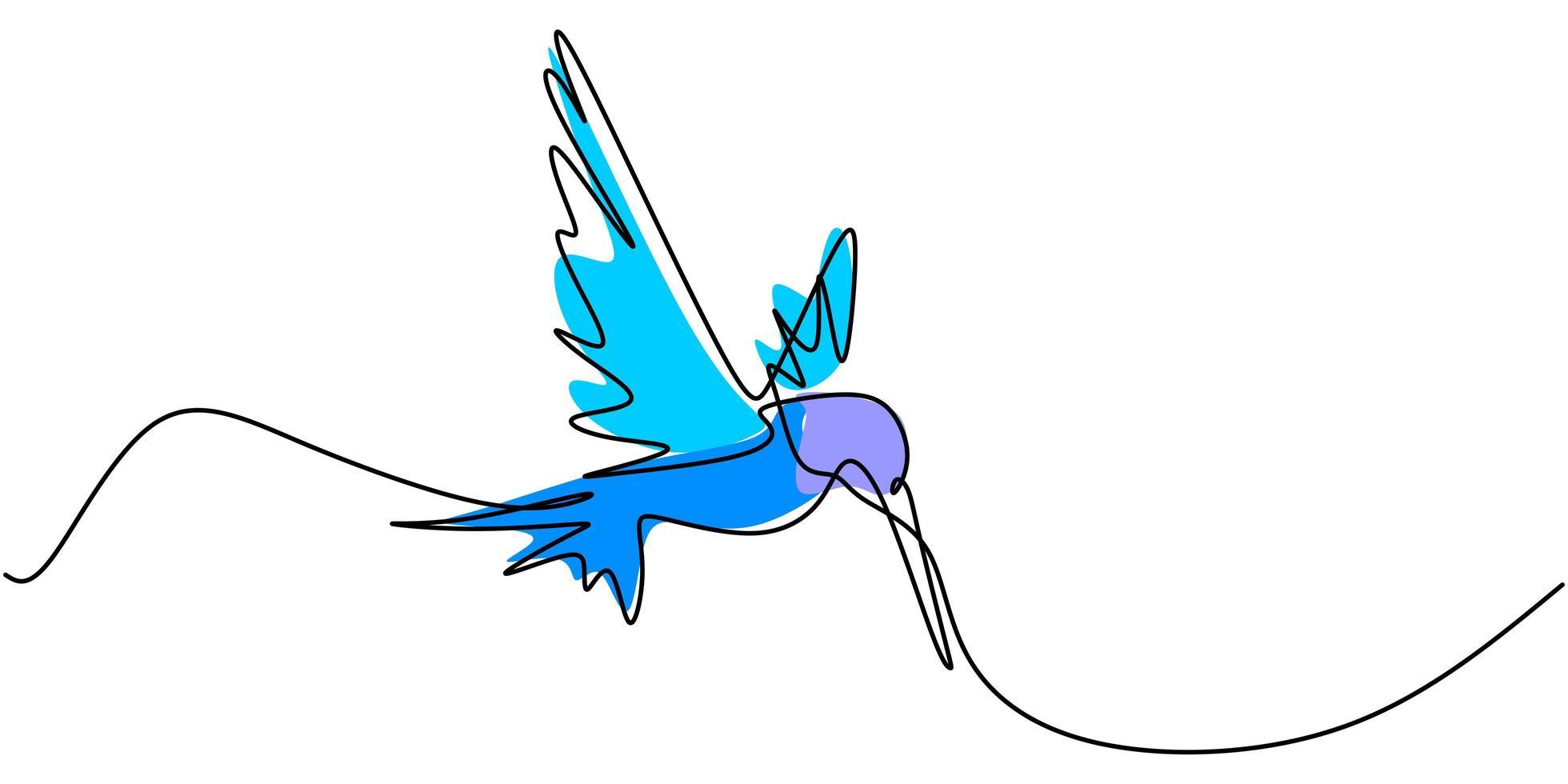 een doorlopende lijntekening van schattige kolibrie. hand getrokken lijntekeningen tropische vogel. vector