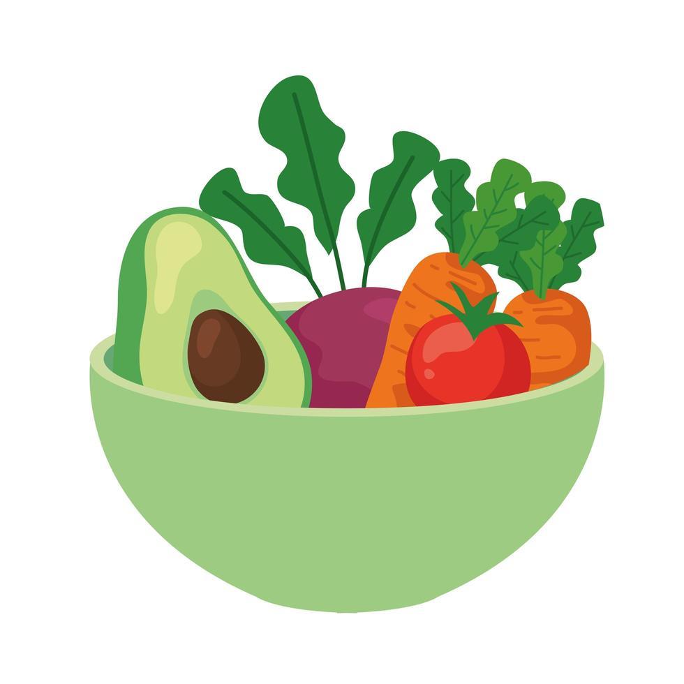 avocado en groenten op kom, op witte achtergrond vector