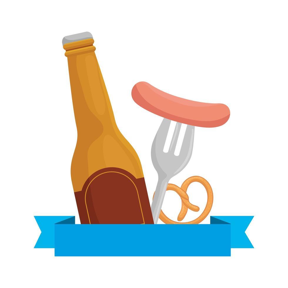 meest oktoberfest worst op vorkkrakeling en bierfles vectorontwerp vector