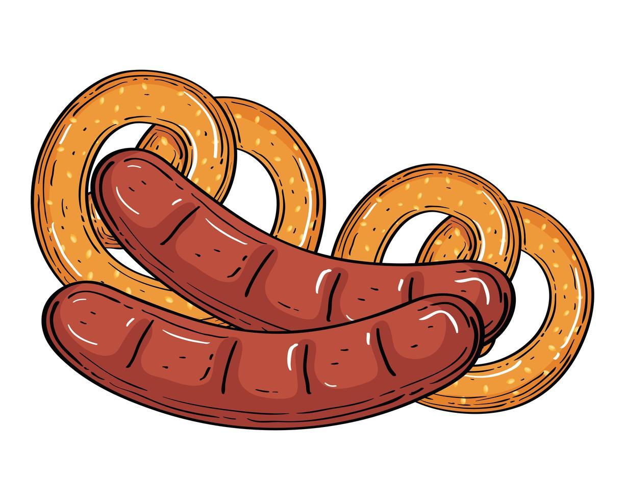 oktoberfest worsten met pretzels vectorontwerp vector