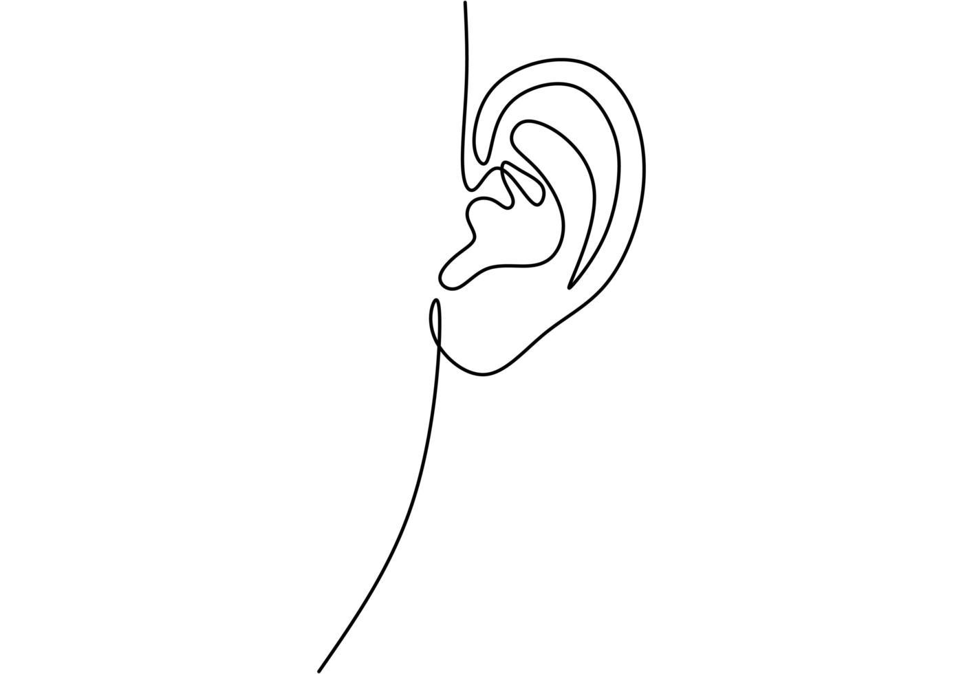 een doorlopende lijn van menselijk oor trekken. wereld dove dag eenvoudige schets van één enkele lijn. vector
