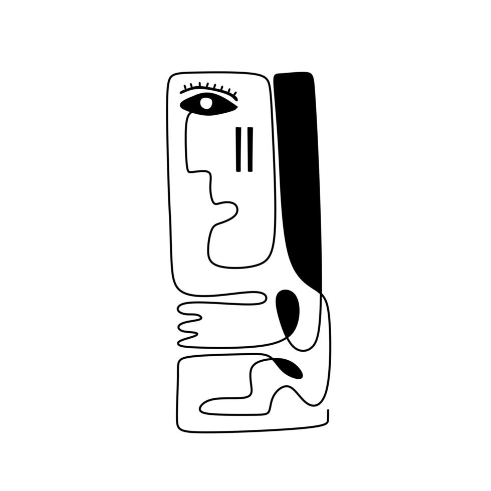 een lijntekening etnische mens. modern doorlopende lijntekeningen tribal portret. abstracte man met droevig gezicht. vector