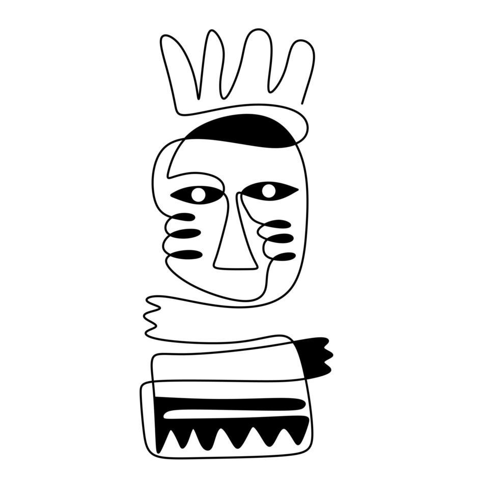 tribale mensen abstract inheemse Azteekse. continu een lijntekening, minimalisme zwart en wit. vector