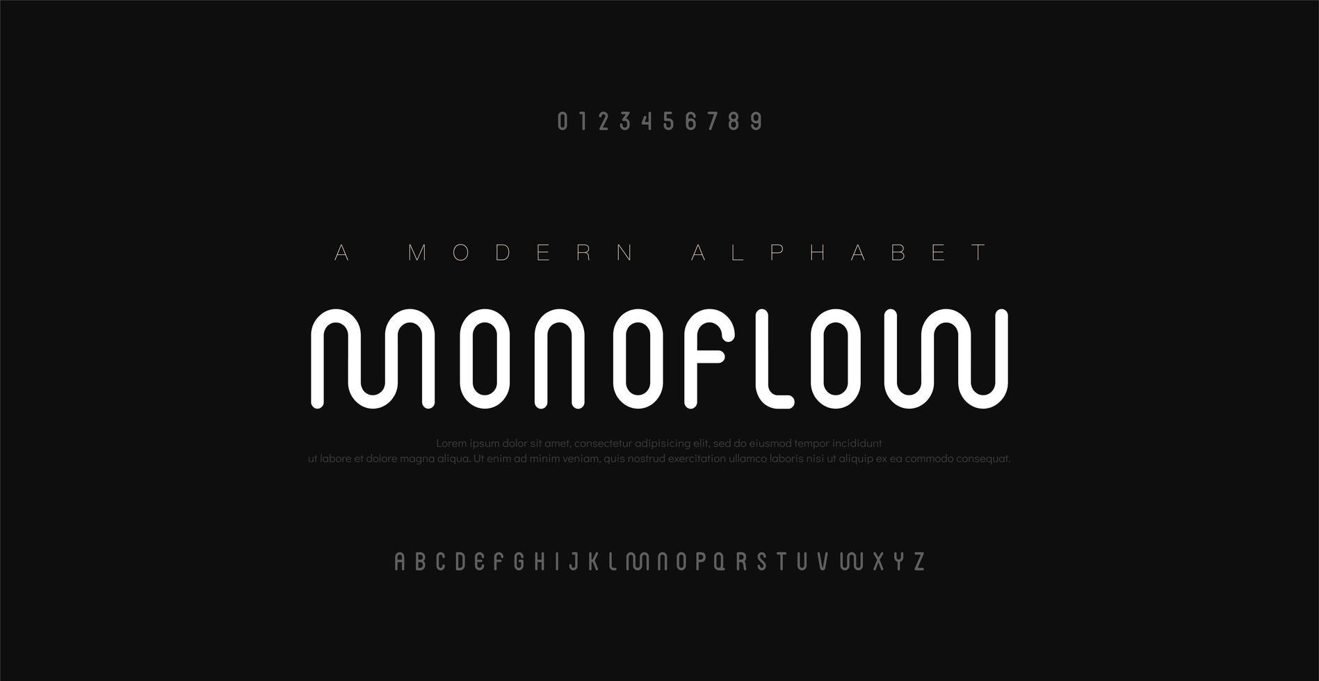minimale moderne alfabetlettertypen en cijfers vector