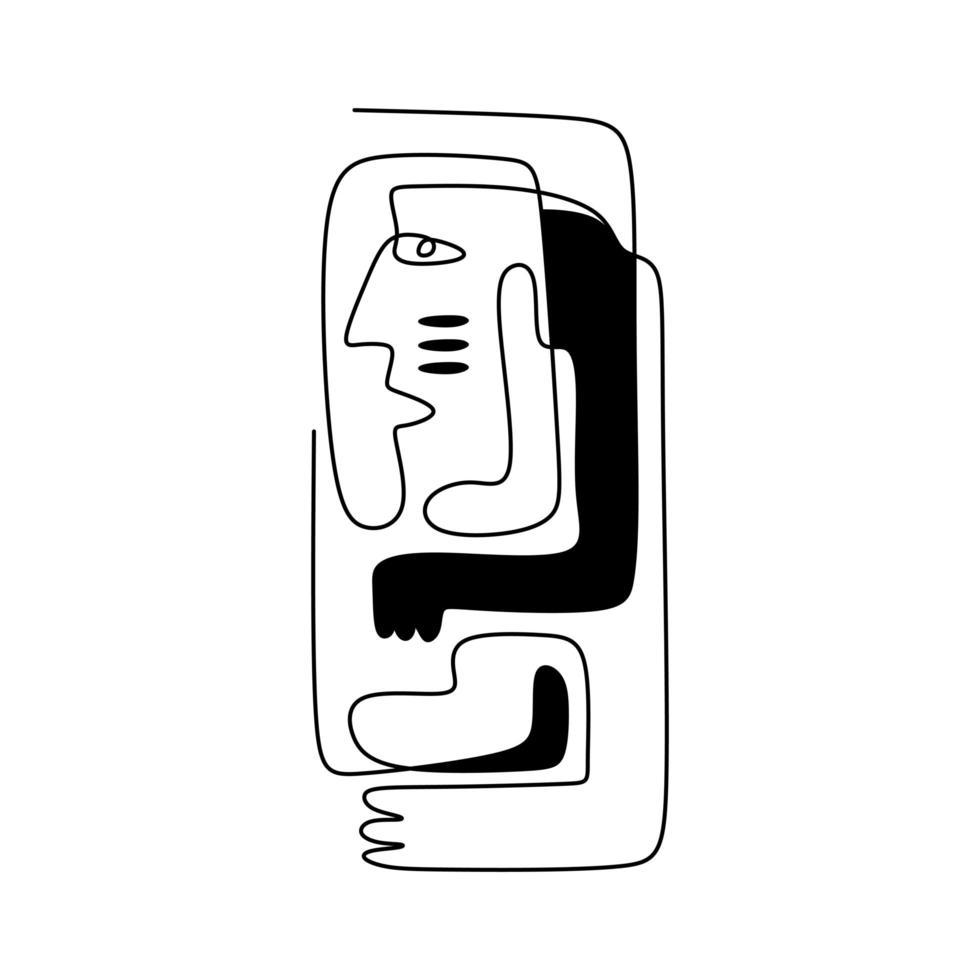 doorlopende lijntekening van esthetische contour. hedendaagse kunst, moderne grafische vormgeving vrouw met handen in de etnische stijl. moderne minimalistische, abstracte vectorillustratie van meisje knuffelen zichzelf. vector