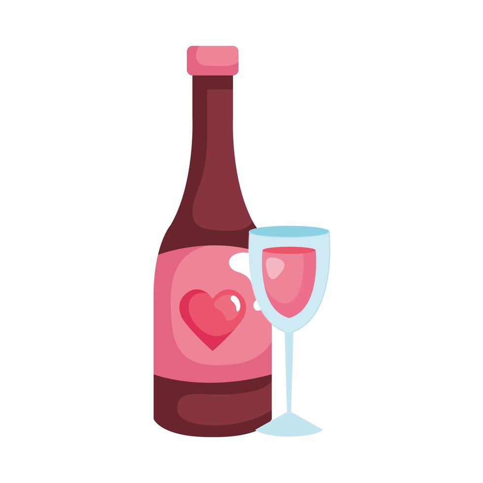 Beker glas met fles wijn geïsoleerde pictogram vector