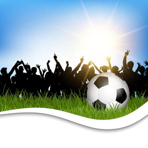 Voetbal in gras met juichende menigte vector