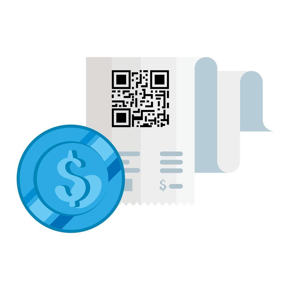 qr-code ontvangstpapier en dollar munt vector ontwerp