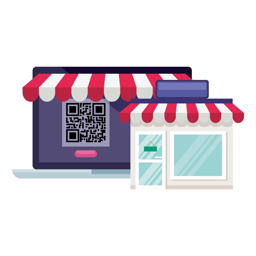 qr-code in laptop en winkel vectorontwerp vector