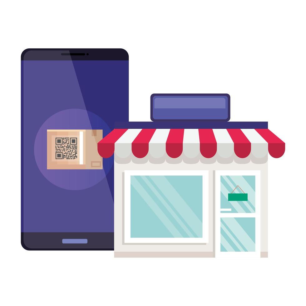 qr-code in smarpthone en winkel vectorontwerp vector