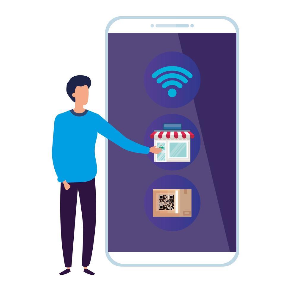 zakenman met smartphone en pictogrammen vector