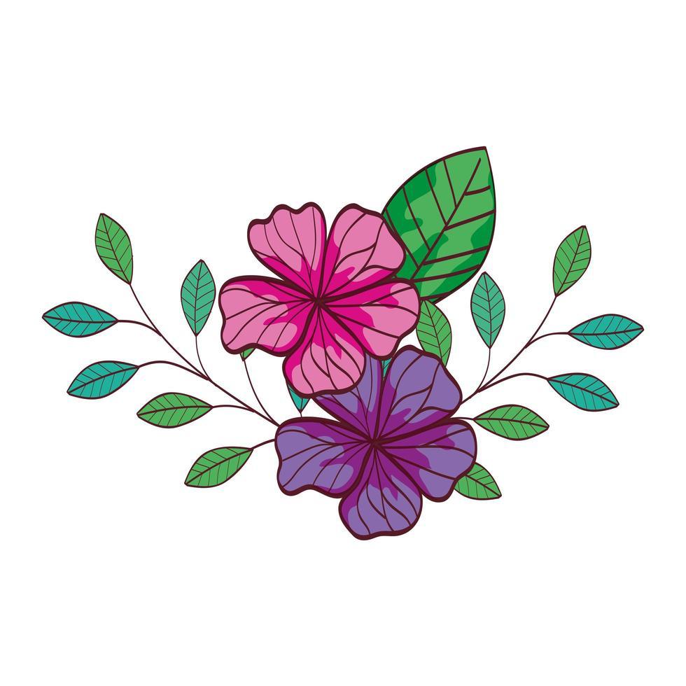 schattige bloemen met takken en bladeren vector