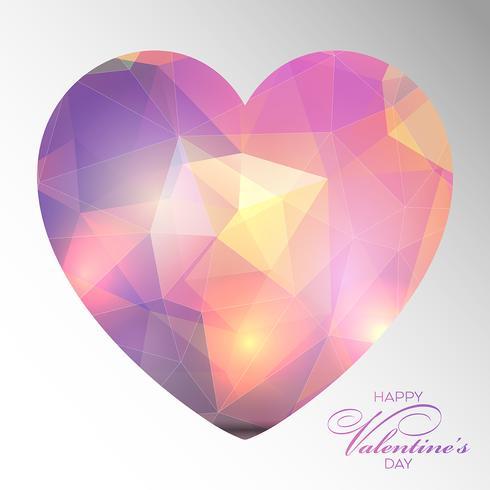 Lage poly Valentijnsdag hart achtergrond vector