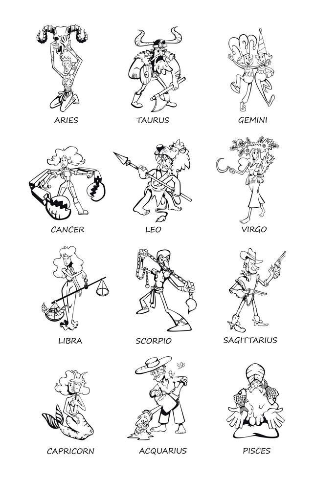 sterrenbeelden mensen schetsen cartoon vector illustraties set