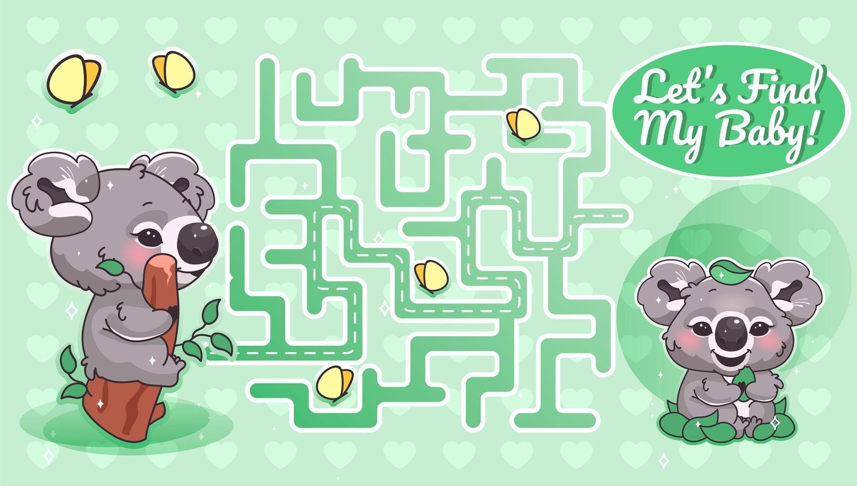 laten we mijn babygroene labyrint vinden met een stripfiguursjabloon vector